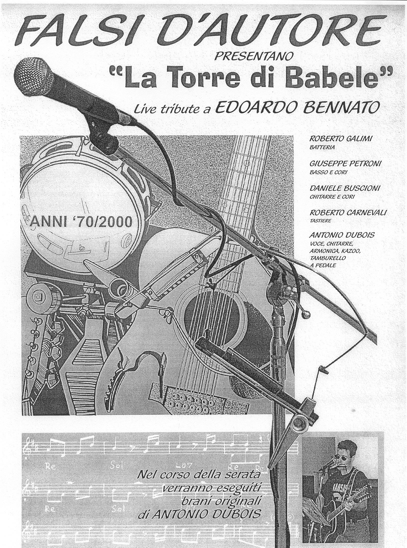 2003: La locandina della Band, che all'epoca si chiamava ancora Falsi d'Autore