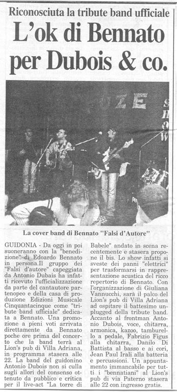 GUIDONIA OGGI 4 FEBBRAIO 2005 - UFFICIALIZZAZIONE