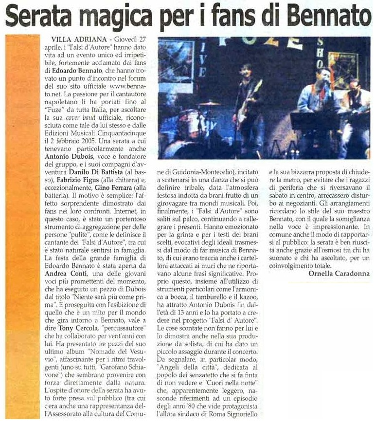 DENTRO -ORNELLA CARADONNA- 5 MAGGIO 2006 -1° FANS DAY