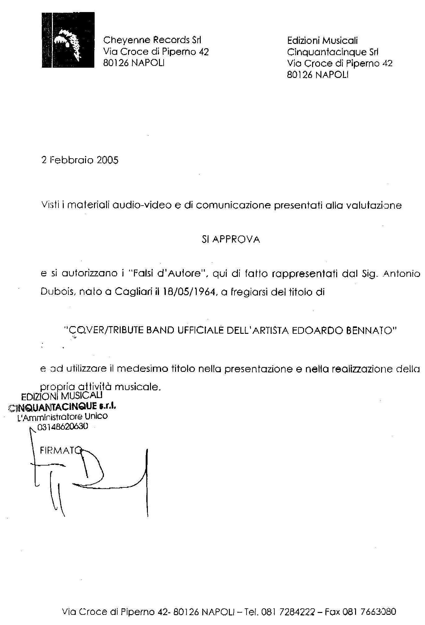 2 febbraio 2005: FdA, il documento di ufficializzazione!